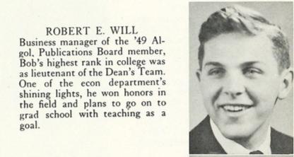 Robert Will in the 1950 Algol Yearbook