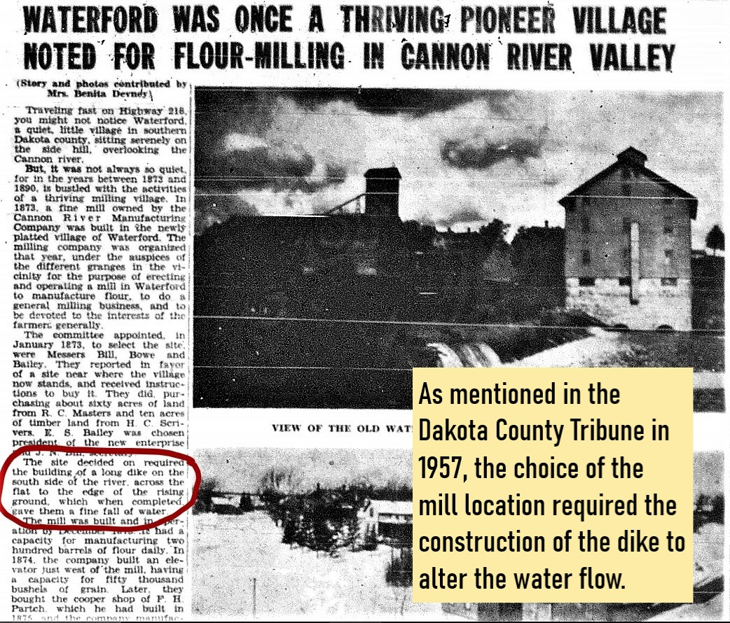 Newspaper clip that mentions the dike being constructed for the mill
