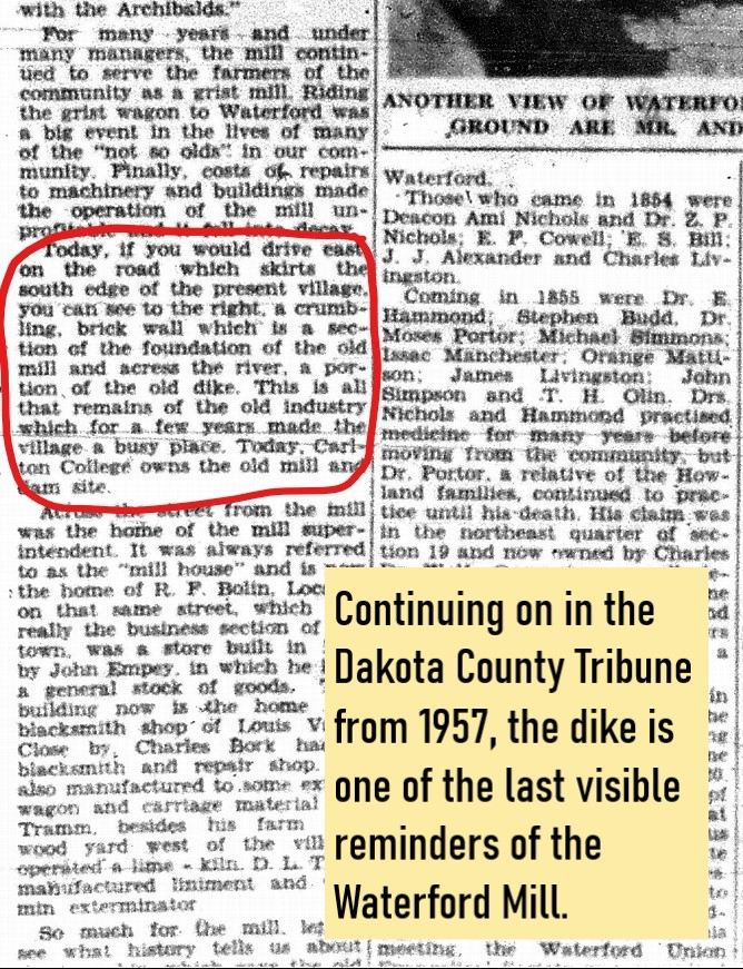 Newspaper clipping that references the remains of the mill and dike
